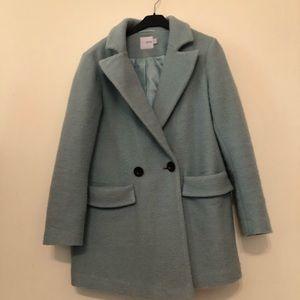 ASOS coat in soft mint color